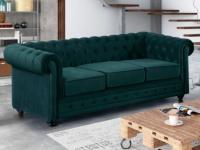 3-Sitzer-Sofa Chesterfield Samt ANNA - Grünblau