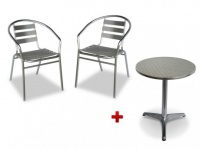 Sitzgruppe Aluminium Montmartre: Tisch rund + 2 Stühle