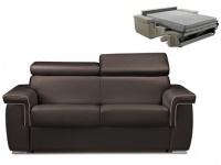 Schlafsofa 2-Sitzer ALTESSE - Braun mit Ziernaht Beige - Liegefläche: 120cm - Matratzenhöhe: 18cm