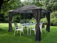 Garten Pavillon Segeltuch & Polycarbonat MARAIBO - B 295 x T 362 x H 266 cm