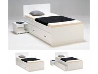 Bett mit Bettkasten PACOM - 90x190cm - Weiß