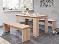Essgruppe Digory: 1 Tisch & 2 Bänke - Eichefarben