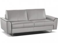 Schlafsofa Leder Express Bettfunktion mit Matratze 3-Sitzer Alphonse - Standardleder - Grau