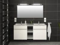 Komplettbad Hochglanz KAHI mit Doppelwaschbecken - Weiß