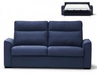 Schlafsofa Stoff Express Bettfunktion mit Matratze Olten - Blau