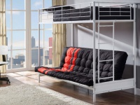 Set Hochbett MODULO IV + Lattenrost + Futonmatratze Rot&Schwarz - 90x190 / 135x190cm - Weiß