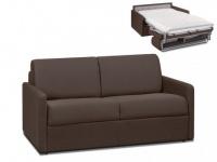 Schlafsofa 2-Sitzer Stoff CALIFE - Braun - Liegefläche: 120 cm - Matratzenhöhe: 14cm