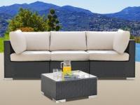 Polyrattan Gartensofa 3-Sitzer Alanda + Gartentisch - Anthrazit