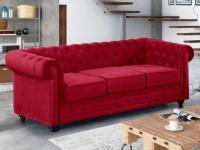 3-Sitzer-Sofa Chesterfield Samt ANNA - Rot