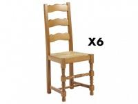 Stuhl 6er-Set Holz massiv Segu