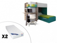 Set Hochbett mit Schreibtisch SAMUEL + Bettboden + 2 Matratzen ZEUS - 2x90x190 - Türkis