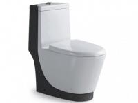Stand-WC Keramik Spülkasten & Soft Close Automatik Thuan - Schwarz & Weiß