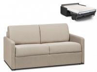 Schlafsofa 2-Sitzer Stoff CALIFE - Beige - Liegefläche: 120 cm - Matratzenhöhe: 18cm