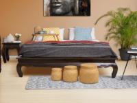 Bett Teak massiv Opiumbett Lovina - 160x200cm - Dunkel