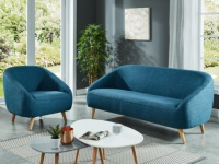 Couchgarnitur 3+1 Stoff TINKA - Blau/Anthrazit