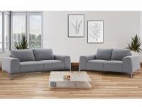 Couchgarnitur 3+2 Stoff TIDIANE - Grau