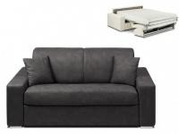 Schlafsofa 2-Sitzer Stoff EMIR - Anthrazit - Liegefläche: 120cm - Matratzenhöhe: 22cm