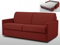Schlafsofa 3-Sitzer Stoff mit Matratze Calife - Rot - Liegefläche: 140 cm