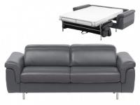 Schlafsofa Leder Express Bettfunktion mit Matratze 3-Sitzer Mayeul - Anthrazit & Grau