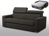 Schlafsofa 3-Sitzer Stoff mit Matratze Vizir - Täglicher Schlafgebrauch - Braun - Liegefläche: 140cm