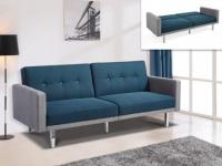 3-Sitzer Schlafsofa Klappsofa Stoff CALDER - Blau & Grau