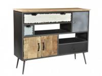 Sideboard Mangoholz & Metall CHAPLIN - 3 Türen & 3 Schubladen