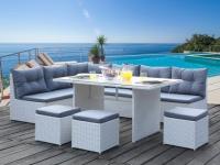 Essgruppe Polyrattan PALAWAN - Weiß/Grau: 5-Sitzer-Sofa, 3 Hocker & 1 Esstisch