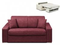 Schlafsofa 2-Sitzer Stoff EMIR - Bordeauxrot - Liegefläche: 120cm - Matratzenhöhe: 14cm