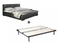 LED-Bett SOREN + Lattenrahmen - 160x200 cm - Schwarz