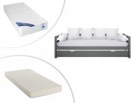 Set Ausziehbett AEDAN + Lattenrost + 2 Matratzen - 2x90x190cm - Grau