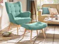 Sessel Stoff Esben + Fußhocker - Grün