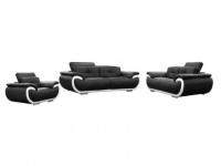 Ledergarnitur Smiley 3+2+1 - Schwarz & Weiß