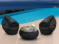Polyrattan Lounge Sitzgruppe Cazas (3-tlg.) - Schwarz