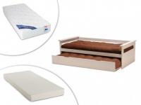 Set Ausziehbett Massivholz ALFONSO + Lattenrost + 2 Matratzen - 2x90x190cm - Weiß