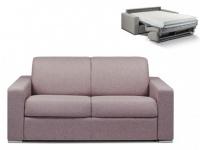 Schlafsofa 2-Sitzer Stoff CALITO - Blassviolett - Liegefläche: 120 cm - Matratzenhöhe: 18cm