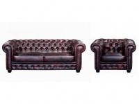 Chesterfield Ledergarnitur Brenton 3+1 - Vintage Leder - Rot-Schwarz