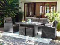 Garten Sitzgruppe Polyrattan SANTAREM: Sofa, 2 Sessel, 2 Hocker & Tisch