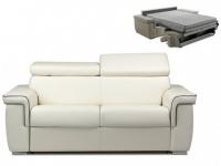 Schlafsofa 2-Sitzer ALTESSE - Weiß mit Ziernaht Grau - Liegefläche: 120cm - Matratzenhöhe: 18cm