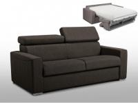 Schlafsofa 2-Sitzer Stoff VIZIR - Braun - Liegefläche: 120cm - Matratzenhöhe: 22cm