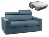 Schlafsofa 2-Sitzer Stoff VIZIR - Blau - Liegefläche: 120cm - Matratzenhöhe: 18cm