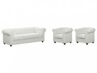 Couchgarnitur 3+1+1 CHESTERFIELD - Weiß