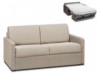 Schlafsofa 2-Sitzer Stoff CALIFE - Beige - Liegefläche: 120 cm - Matratzenhöhe: 22cm