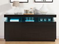 Sideboard Hochglanz LED Fabio - Schwarz