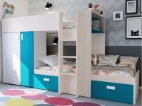 Etagenbett JULIEN + Lattenrost- 2x90x190cm - Eichenfarben/Blau
