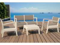 Lounge Sitzgruppe MIAMI (4-tlg.) - Taupe-Weiß