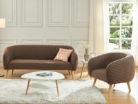 Couchgarnitur 3+1 Stoff PENNY - Braun