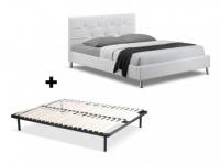 Sparset GABIN: Bett Weiß + Lattenrost - 140x190 cm