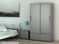 Kleiderschrank LUCILE - 2 Türen, 2 Schubladen - Grau