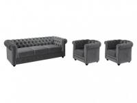 Couchgarnitur 3+1+1 Samt Chesterfield ANNA - Grau