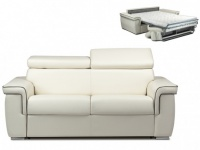 Schlafsofa 2-Sitzer ALTESSE - Weiß mit Ziernaht Grau - Liegefläche: 120cm - Matratzenhöhe: 14cm